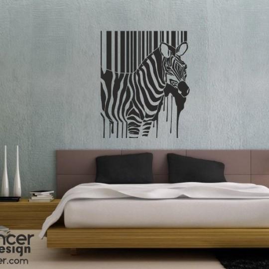 Зебра, на стену, трафарет, шаблон, декор